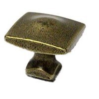 Topex Cabinet Knobs - Antique Brass - Square Knob in Antique Brass