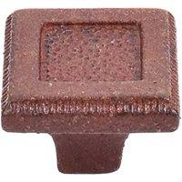 """Top Knobs - Britannia - 1 5 /16"""" (33mm) Square Inset Knob in True Rust"""