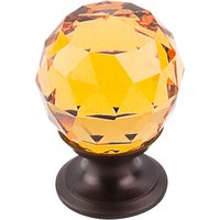"Top Knobs - Crystal - 1 1/8"" Diameter Knob in Amber Crystal with Oil Rubbed Bronze"