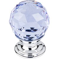 "Top Knobs - Crystal - 1 1/8"" Diameter Knob in Light Blue Crystal with Polished Chrome"