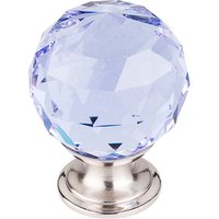 "Top Knobs - Crystal - 1 3/8"" Diameter Knob in Light Blue Crystal with Brushed Satin Nickel"