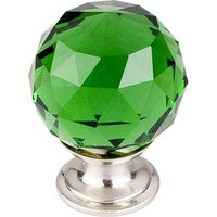 "Top Knobs - Crystal - 1 3/8"" (35mm) Diameter Knob in Green Crystal with Brushed Satin Nickel"