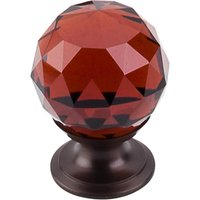 "Top Knobs - Crystal - 1 1/8"" Diameter Knob in Wine Crystal with Oil Rubbed Bronze"