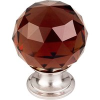 "Top Knobs - Crystal - 1 3/8"" (35mm) Diameter Knob in Wine Crystal with Brushed Satin Nickel"
