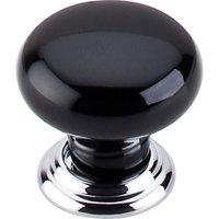 "Top Knobs - Chareau - 1 3/8"" Diameter Large Knob in Polished Chrome & Black"