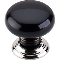 "Top Knobs - Chareau - 1 3/8"" Diameter Large Knob in Polished Nickel & Black"