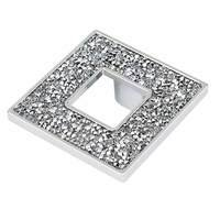 "Topex Cabinet Knobs - Crystal - 1 7/16"" Centers Square Pull with Hole in Chrome and Swarovski Crystals"