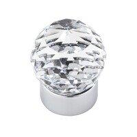 "Topex Cabinet Knobs - Crystal - 1 3/16"" Diameter Round Swarovski Crystal Knob in Bright Chrome"