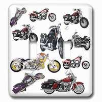 Jazzy Wallplates - Automobiles and Transportation - Double Toggle Wallplate With Harley-Davidson® Motorcycles