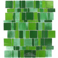 Vicenza Mosaico Glass Tiles - Freedom Glass Tile - Handcut Glass Mesh Mounted Sheets In Verde