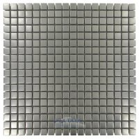 "Illusion Glass Tile - Metals - 5/8"" x 5/8"" Mosaic Tile in Brushed Stainless Steel"