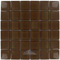 "Illusion Glass Tile - Hot Cocoa - 1 7/8"" x 1 7/8"" Glass Mosaic Tile in Hot Cocoa"