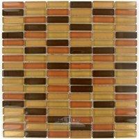 "Illusion Glass Tile - Sahara Twilight - 5/8"" x 1 7/8"" Straight Set Glass Mosaic Tile in Sahara Twilight Clear"