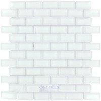 """Illusion Glass Tile - White - 7/8"""" x 1 7/8"""" Brick Glass Mosaic Tile in White"""