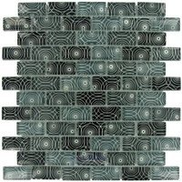 "Illusion Glass Tile - Glass Mosaics - 7/8"" x 1 7/8"" Brick Glass Mosaic Tile in Circles"