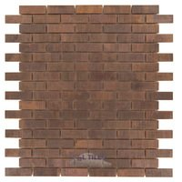 "Illusion Glass Tile - Metals - 5/8"" x 2"" Brickset Mosaic in Antique Copper"