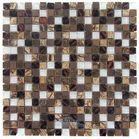 "Illusion Glass Tile - Stone, Glass & Metal Mosaics - 5/8"" x 5/8"" Stone, Glass & Metal Mosaic Tile in Jungalaya"