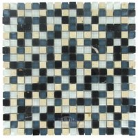 "Illusion Glass Tile - Singin the Blues - 5/8"" x 5/8"" Stone & Glass Mosaic Tile in Singin the Blues"
