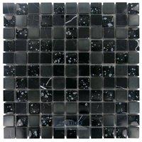 "Illusion Glass Tile - Galaxy Glitter - 1"" x 1"" Stone, Glass & Metal Mosaic Tile in Midnight Galaxy"
