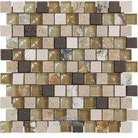 "Illusion Glass Tile - Inspiration - 1"" x 1"" Brickset Mosaic Tile in Honey"