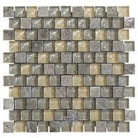"Illusion Glass Tile - Inspiration - 1"" x 1"" Brickset Mosaic Tile in Wellspring"