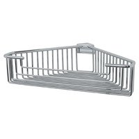 Valsan - Essentials - Large Detachable Corner Wire Soap Basket with Round Rungs in Chrome