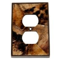 Verona Bronze Switchplates - Inlay - Single Duplex Outlet in Antique Dark Bronze with Tiger Penshell Inlay