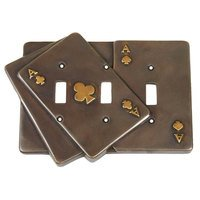 Verona Bronze Switchplates - Finish Touch - Triple Toggle Switchplate Clubs Card in Antique Dark Bronze