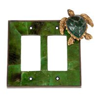 Verona Bronze Switchplates - Land and Sea Wallplate - Double Rocker Switchplate in Antique Dark Bronze with Green Dye Penshell Inlay