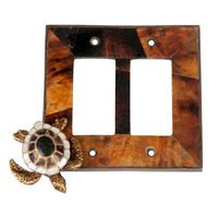 Verona Bronze Switchplates - Land and Sea Wallplate - Double Rocker Switchplate in Antique Dark Bronze with Penshell Inlay