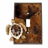 Verona Bronze Switchplates - Land and Sea Wallplate - Single Toggle Switchplate in Antique Dark Bronze with Penshell Inlay