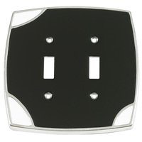 Verona Bronze Switchplates - Techno Aluminum Wallplate - Double Toggle Switchplate in Black with White