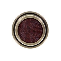 """Vicenza Hardware - Equestre - 1 1/4"""" Knob with Insert in Satin Nickel with Black Fur Insert"""