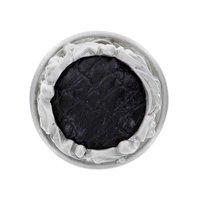"Vicenza Hardware - Liscio - 1 1/4"" Knob with Insert in Satin Nickel with Black Fur Insert"