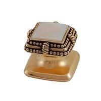 Vicenza Hardware - Gioiello - Square Gem Stone Knob Design 1 in Satin Nickel with Black Onyx Insert