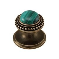 Vicenza Hardware - Gioiello - Round Gem Stone Knob Design 1 in Satin Nickel with Carnelian Insert