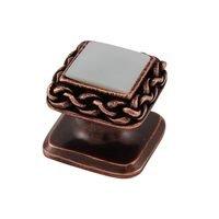 Vicenza Hardware - Gioiello - Square Gem Stone Knob Design 2 in Satin Nickel with Black Onyx Insert