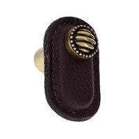 Vicenza Hardware - Sanzio - Leather Collection Sanzio Knob in Brown Leather in Satin Nickel