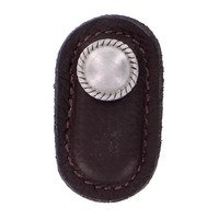 Vicenza Hardware - Equestre - Leather Collection Cappello Knob in Brown Leather in Satin Nickel