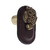 Vicenza Hardware - Pollino - Leather Collection Tartaruga Knob in BrownLeather in Satin Nickel