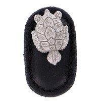 Vicenza Hardware - Pollino - Leather Collection Tartaruga Knob in Black Leather in Satin Nickel