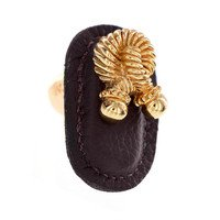 Vicenza Hardware - Equestre - Leather Collection Bonata Knob in Brown Leather in Satin Nickel