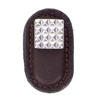 Vicenza Hardware - Tiziano - Leather Collection Solferino Knob in Brown Leather in Satin Nickel