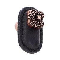 Vicenza Hardware - Napoli - Leather Collection Napoli Knob in Black Leather in Satin Nickel