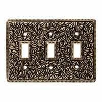 Vicenza Hardware - San Michele - Triple Toggle Switchplate in Satin Nickel
