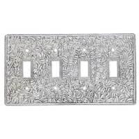 Vicenza Hardware - San Michele - Quadruple Toggle Switchplate in Satin Nickel