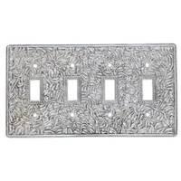 Vicenza Hardware - San Michele - Quadruple Toggle Jumbo Switchplate in Satin Nickel