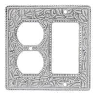 Vicenza Hardware - San Michele - Single Rocker Single Outlet Combo Jumbo Switchplate in Satin Nickel
