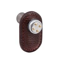 Vicenza Hardware - Archimedes - Leather Collection Rochetta Knob in Brown Leather in Two Tone