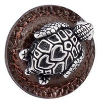 "Vicenza Hardware - Pollino - 1 1/4"" Round Turtle Knob with Leather Insert in Satin Nickel with Black Leather Insert"
